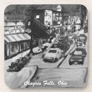 Black & White Chagrin Falls Ohio Painting Coasters