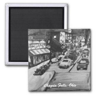 Black & White Chagrin Falls, Ohio Painting Magnet