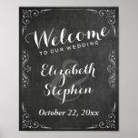 Black White Chalkboard Floral Wedding Sign Poster