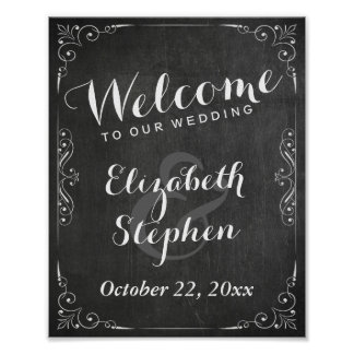 Black White Chalkboard Floral Wedding Sign Poster