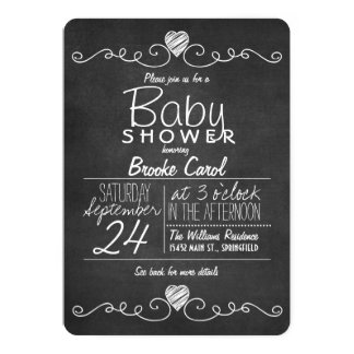 Black & White Chalkboard, Heart Baby Shower Card
