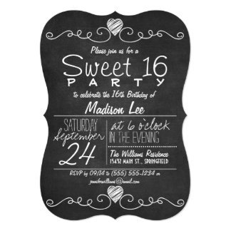 Black & White Chalkboard Rustic Sweet 16 Party Card