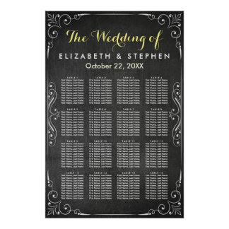 Black & White Chalkboard Wedding Seating Chart Poster