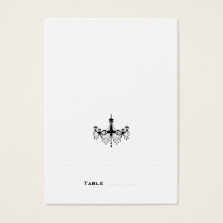 Black & White Chandelier Folded Place Cards
