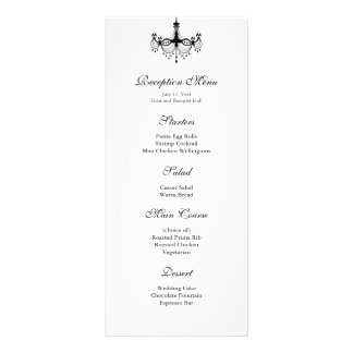 Black & White Chandelier Reception Menu Customized Rack Card