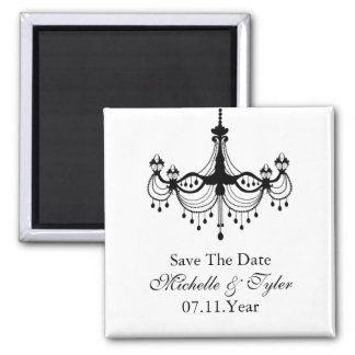 Black & White Chandelier Save The Date Magnet