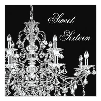 Black White Chandelier Sweet 16 Party Card