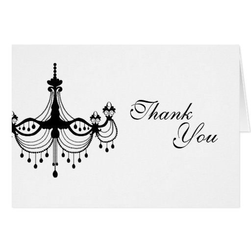 Black & White Chandelier Thank You Note Card