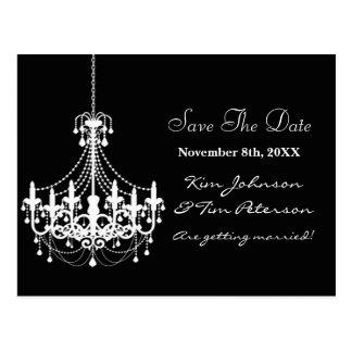 Black White Chandelier Wedding Save Date Postcard