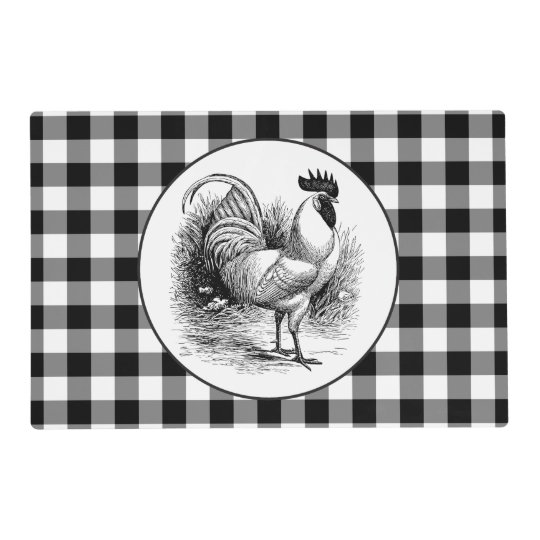 Black white check rooster Country kitchen placemat
