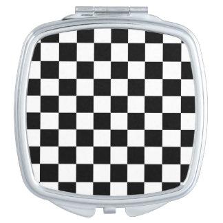 Black White Checker Compact Mirror