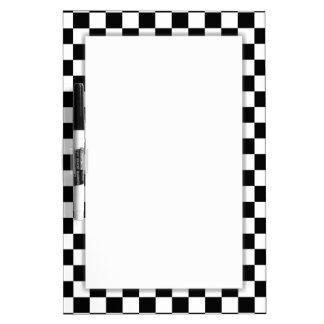 Black & White Checkerboard Background Dry-Erase Board