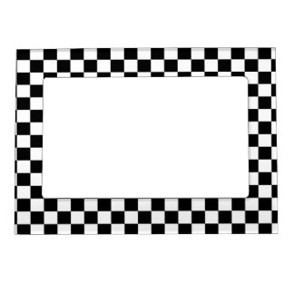 Black & White Checkerboard Background Magnetic Frame