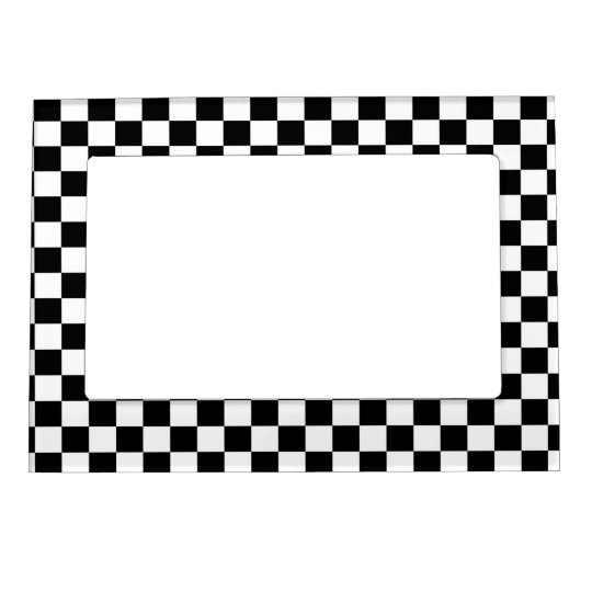 Black & White Checkerboard Background Magnetic Frame | Zazzle.com