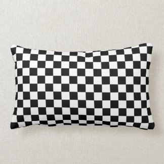 Black & White Checkerboard Background Pillow