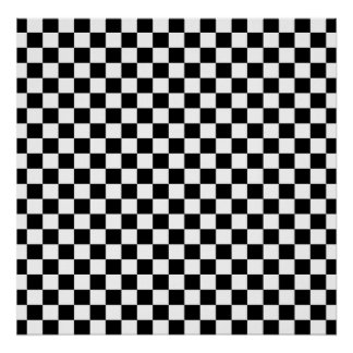 Black & White Checkerboard Background Poster