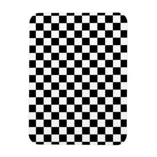 Black & White Checkerboard Background Rectangular Photo Magnet