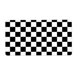 Black & White Checkerboard Background Shipping Label