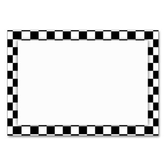 Black & White Checkerboard Background Table Card