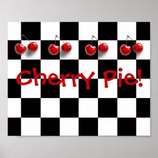 Black & White Checkerboard Cherry Pie Kitchen Poster