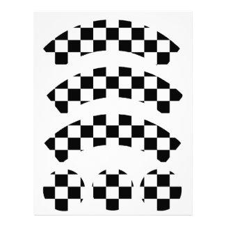 Black & White Checkerboard Cupcake Wrapper Customized Letterhead