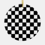 Black & White Checkerboard Custom Christmas Ornaments