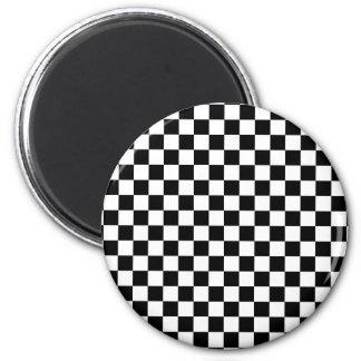 Black & White Checkerboard Fridge Magnet