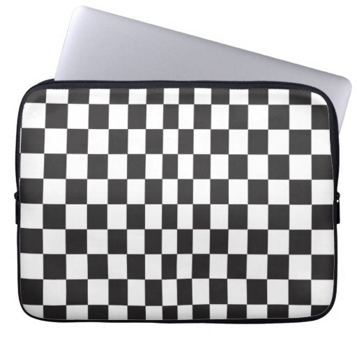 Black & White Checkerboard Pattern Computer Sleeves