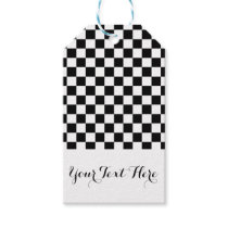 Black White Checkerboard Pattern Personalized Gift Tags