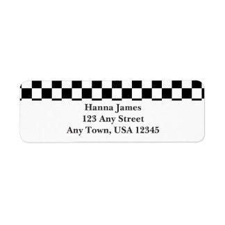 Black White Checkerboard Pattern Personalized Label