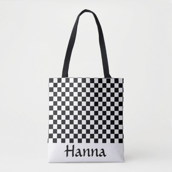 Black White Checkerboard Pattern Personalized Tote Bag