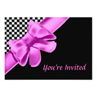Black & White Checkerboard Pink Bow Card