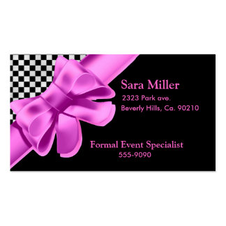 Black & White Checkerboard Pink Bow Set Double-Sided Standard Business Cards (Pack Of 100)