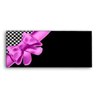 Black & White Checkerboard Pink Bow Set Envelope
