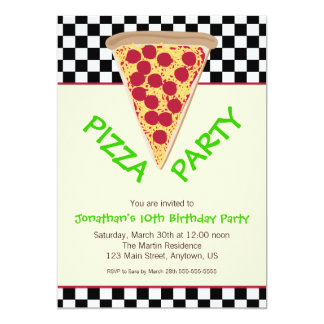 Black & White Checkerboard Pizza Party Card