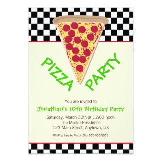 Black & White Checkerboard Pizza Party Card