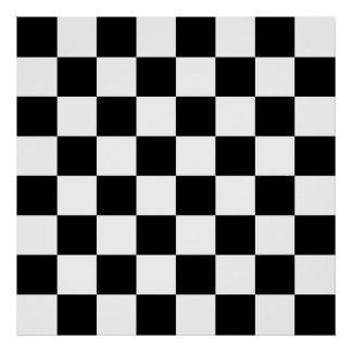 Black, White Checkerboard Poster