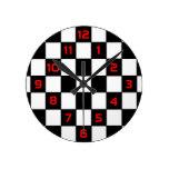Black White Checkerboard - Wall Clock