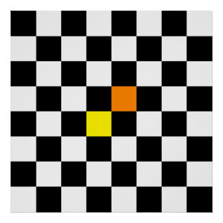 Black, White Checkerboard with Yellow Orange Color Poster