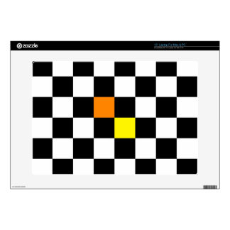 Black, White Checkerboard with Yellow Orange Color Skin For Laptop