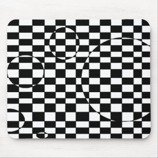 Black & White checkered 3d illusion Mouse Pads