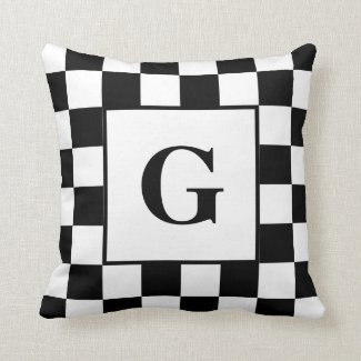 Black White Checkered Border Pattern with Monogram Throw Pillow