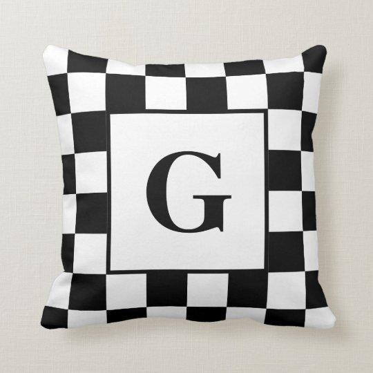 Black White Checkered Border Pattern With Monogram Throw Pillow