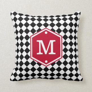 Black & White Checkered | Cherry Red Monogram Throw Pillow