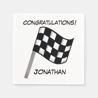 Black White Checkered Flag Congratulations Name Napkin