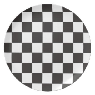 Black | White Checkered Flag Pattern Plate