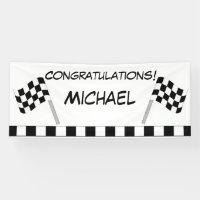 Black White Checkered Flag Race Congratulations Banner