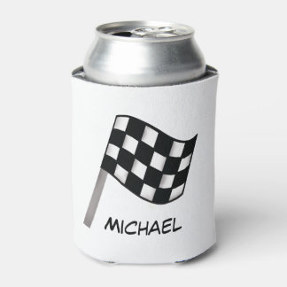 Black White Checkered Flag Race Name Personalized Can Cooler