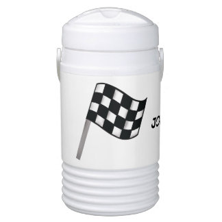 Black White Checkered Flag Race Name PersonalizedT Beverage Cooler
