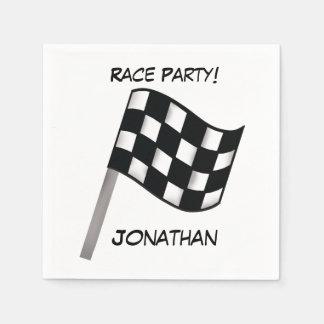 Black White Checkered Flag Race Party Name Napkin
